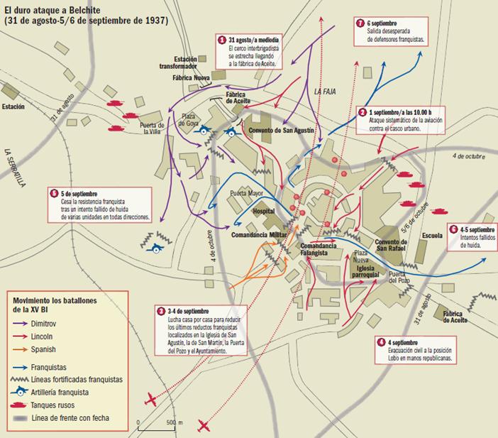 Mapa del asalto republicano a Belchite en agosto-septiembre de 1937