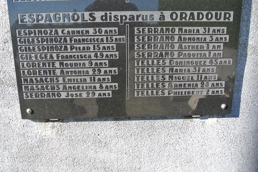Listado de españoles asesinados en la masacre, seguramente llegaron exiliados de la Guerra Civil