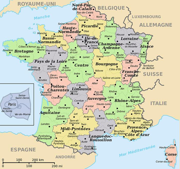 Aquí los Departamentos incluidos dentro de las diferentes Regiones. En este mapa aún estaban las vigentes hasta diciembre 2015